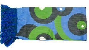 Geprinte en gebreide sjaalblauw met groen