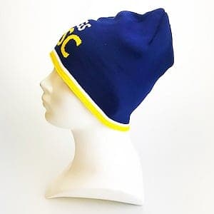 Custom beanie Blauw Geel zijkant Mutsen op maat
