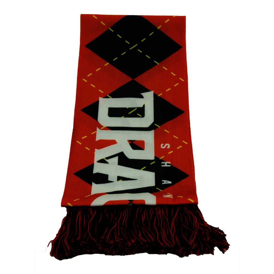 Recycled polyester scarves with company logo